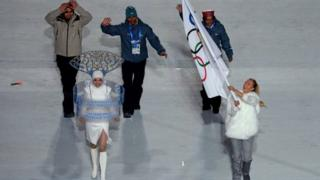 Indian athletes walked under the Olympics flag during the opening ceremony of the Sochi Winter Games