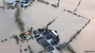 """Flood water continues to cover farmland close to James Winslade""""s West Yeo Farm and Newhouse Farm in Moorland on the Somerset Levels"""