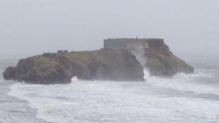 waves hit Tenby coast