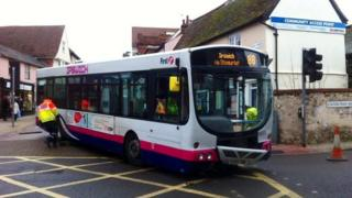 Damaged bus which hit Edelweiss in Stowmarket