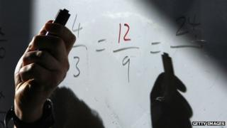 Maths equations on a school whiteboard