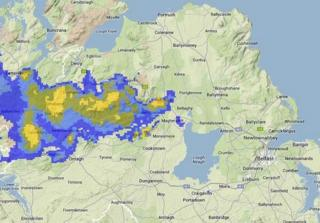 A radar image of the snow and wintry showers affecting NI on Thursday morning