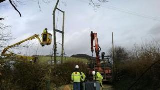 ScottishPower engineers at Llandre, Ceredigion