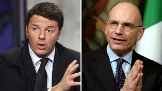 Matteo Renzi and Enrico Letta