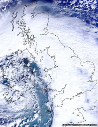 Satellite image of cloud over the British Isles