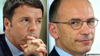 A combination of pictures made on February 13, 2014 shows Italian Democratic Party (PD) general secretary and mayor of Florence Matteo Renzi (L) during a press conference in Rome on December 9, 2013 and Italian Prime Minister Enrico Letta during a press conference in Rome on June 20, 2013.