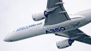 The Airbus A350 XWB development aircraft MSN3 at the Singapore airshow, Feb 2014