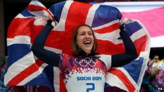 Lizzy Yarnold celebrates after winning Gold in the Women's Skeleton Final at the Sochi Winter Olympics