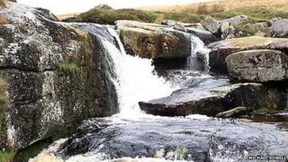 Fast flowing river on Dartmoor near Postbridge