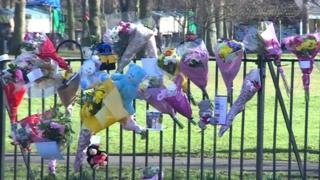 Flowers, toys and notes are left near Aylestone Leisure Centre where Paige Jackson was killed