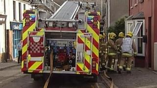 Emergency services were called to the house on Bridge Street at lunchtime on Sunday