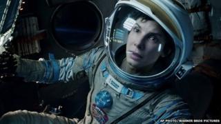 Sandra Bullock in a scene from Gravity