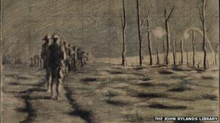 Sketch of soldiers marching at night in WW1