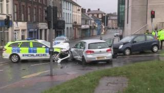 The crash happened on Linenhall Street in Ballymena on Monday morning