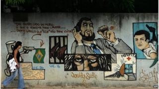 Sao Paulo graffiti on wall of the Carandiru prison complex (2006)