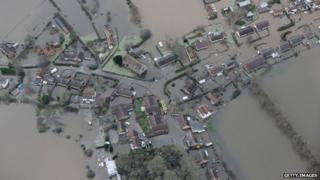 Aerial view of Moorland, on the flooded Somerset Levels