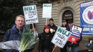 NUJ strikers outside the Telegraph and Argus