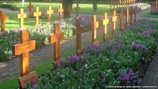 Crosses in the war cemetery in Howard Davis Park, Jersey