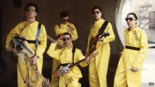 Devo members from left, Mark Mothersbaugh, Bob Mothersbaugh, kneeling, Jerry Casale, Bob Casale and Alan Myers, seen in 1978