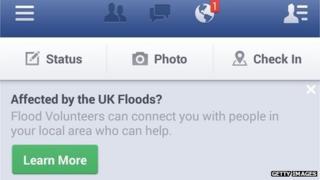 Facebook flood alert message