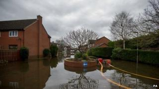 Flooded street in Staines