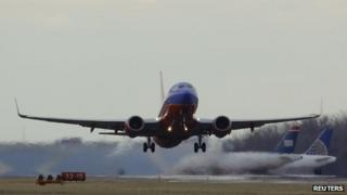A Southwest Airlines passenger jet took off at Reagan National Airport in Washington DC on 28 February 2013