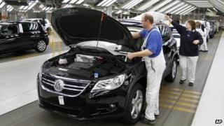 Production line in the Volkswagen plant in Wolfsburg