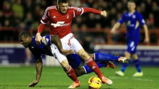Action from Forest-Leicester match