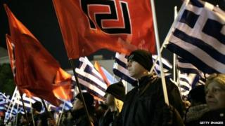 Greek Golden Dawn protesters (1 Feb)