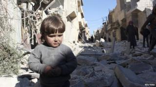 A child in Aleppo, Syria, on 13 February 2014