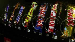 Candy in a vending machine