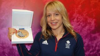 Jenny Jones with her bronze medal