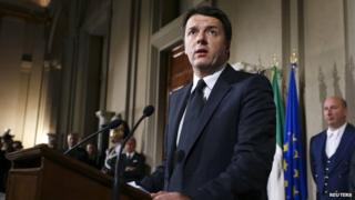 Italy's newly elected Prime Minister Matteo Renzi talks during a news conference following a meeting with Italian president Giorgio Napolitano in which he has unveiled the names of the members of his government at the Qurinale presidential palace in Rome (February 21, 2014)