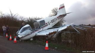 Crash-landed plane at Sandhurst