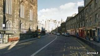 The attack happened on Johnston Terrace in Edinburgh