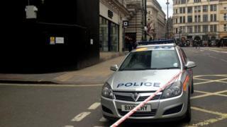 Police car in Haymarket, central London