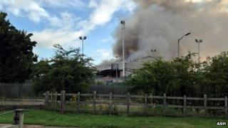 Fire at the recycling transfer centre in Worksop