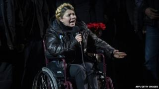 Newly freed Ukrainian opposition icon Yulia Tymoshenko speaks at Independence Square on February 22, 2014