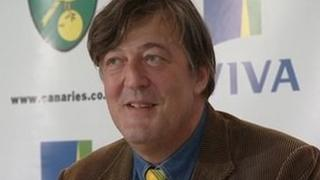 Stephen Fry at the press conference in Norwich