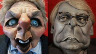 Spitting image puppets of Baroness Thatcher and Sir John Major