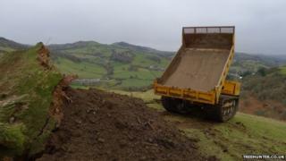 Dumper truck tipping soil on the tree