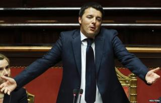 Italian PM Matteo Renzi (in the Senate 24 Feb)