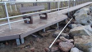 railings through bench Porthcawl