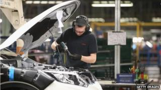 A worker at Nissan's factory in Sunderland