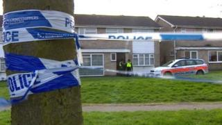 Police at the scene of a house in Somerfield Walk, Leicester