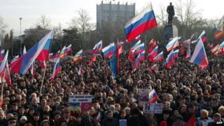 Pro-Russian demonstration in Sevastopol, 23 Feb 14