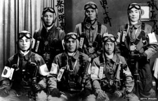 Six Japanese Kamikaze pilots in their uniform