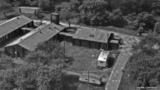 Decontamination annexe, the third building on the right joined to two other hospital buildings, seen in 1950
