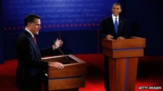 Barack Obama and Mitt Romney during the first of three US Presidential debates in 2012