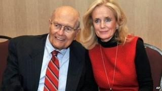 Representative John Dingell and his wife Debbie after his retirement announcement on 24 February, 2014.